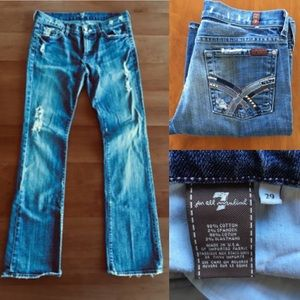 {7FAM Bootcut Jeans} Rhinestone Pockets U075C-055U